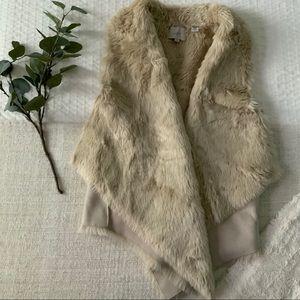LOFT faux shearling/suede reversible vest, size S